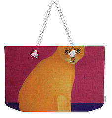 Yellow Cat Weekender Tote Bag by Pamela Clements