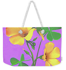 Weekender Tote Bag featuring the painting Yellow Clover Flowers by Sophia Schmierer