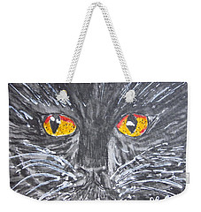 Yellow Eyed Black Cat Weekender Tote Bag
