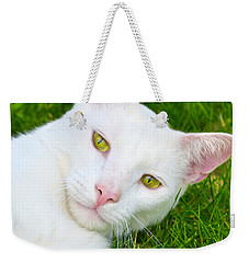 Yellow Eyes Weekender Tote Bag by Tine Nordbred