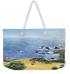 Yellow Fields And Silvery Summer Sea Weekender Tote Bag by Asha Carolyn Young