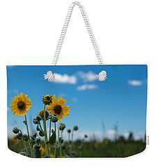 Yellow Flower On Blue Sky Weekender Tote Bag by Photographic Arts And Design Studio