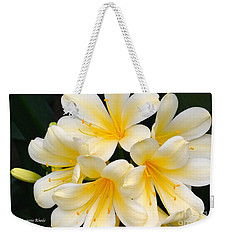Weekender Tote Bag featuring the photograph Clivia Yellow Flowers by Jeannie Rhode