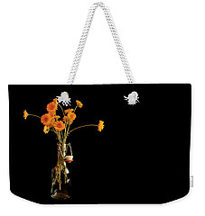 Orange Flowers On Black Background Weekender Tote Bag