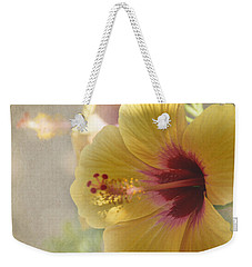 Yellow Hibiscus Weekender Tote Bag by Peggy Hughes