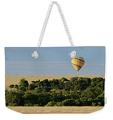 Weekender Tote Bag featuring the photograph Yellow Hot Air Balloon Masai Mara by Tom Wurl