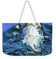 Yellow Lab  Blue Wake Weekender Tote Bag