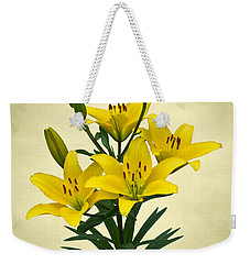 Yellow Lilies Weekender Tote Bag by Jane McIlroy