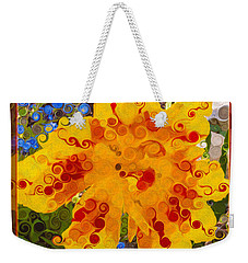 Weekender Tote Bag featuring the painting Yellow Lily With Streaks Of Red Abstract Painting Flower Art by Omaste Witkowski
