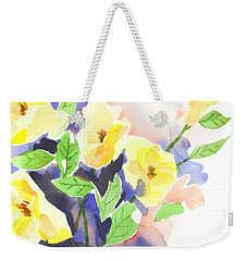 Weekender Tote Bag featuring the painting Yellow Magnolias by Kip DeVore