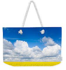 Yellow Mustard Fields Under A Deep Blue Sky Weekender Tote Bag