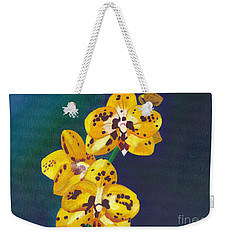 Weekender Tote Bag featuring the painting Yellow Orchids by Laura Forde