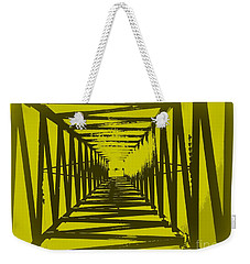 Weekender Tote Bag featuring the photograph Yellow Perspective by Clare Bevan