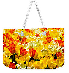 Yellow Red And White Tulips Weekender Tote Bag by Menachem Ganon