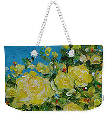 Weekender Tote Bag featuring the painting Yellow Roses by Judith Rhue