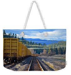 Yellow Train To The Mountains Weekender Tote Bag