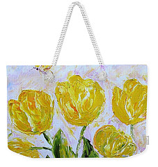 Yellow Tulips And Butterfly Weekender Tote Bag