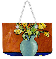 Yellow Tulips In A Turquoise Vase Weekender Tote Bag
