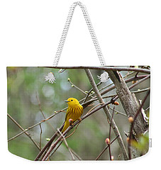 Yellow Warbler Weekender Tote Bag by Karen Silvestri