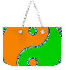Yin Yang Orange Green Pop Art Weekender Tote Bag