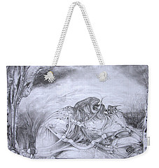 Weekender Tote Bag featuring the drawing Ymir At Rest by Otto Rapp