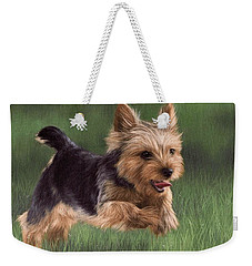 Yorkshire Terrier Painting Weekender Tote Bag by Rachel Stribbling