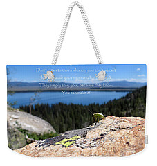 Weekender Tote Bag featuring the photograph You Can Make It. Inspiration Point by Ausra Huntington nee Paulauskaite