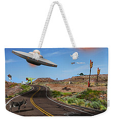 You Never Know What You Will See On Route 66 Weekender Tote Bag by Mike McGlothlen
