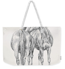 Weekender Tote Bag featuring the drawing You Scratch My Back I'll Scratch Yours by Kim Lockman