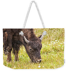 Weekender Tote Bag featuring the photograph Young Bison by Belinda Greb