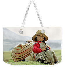 Young Girl In Peru Weekender Tote Bag