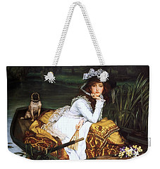 Young Lady In A Boat Weekender Tote Bag
