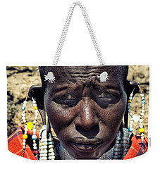 Portrait Of Young Maasai Woman At Ngorongoro Conservation Tanzania Weekender Tote Bag by Amyn Nasser