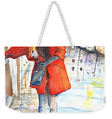 Young Woman Walking Along Venice Italy Canal Weekender Tote Bag