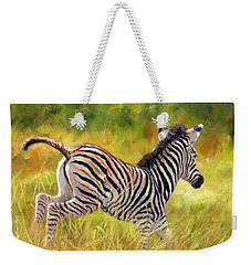 Young Zebra Weekender Tote Bag by David Stribbling