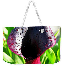 Weekender Tote Bag featuring the photograph Zantedeschia Named Black Forest by J McCombie