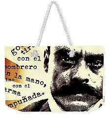 Weekender Tote Bag featuring the mixed media Zapatismo by Michelle Dallocchio