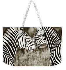Zebra Affection Weekender Tote Bag by Liz Leyden