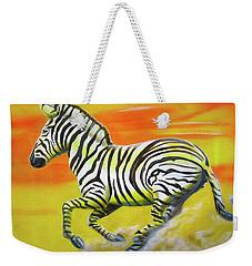 Zebra Kicking Up Dust Weekender Tote Bag