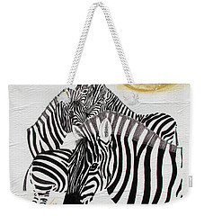 Weekender Tote Bag featuring the painting Zebra Quintet by Stephanie Grant