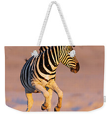 Zebras Jump From Waterhole Weekender Tote Bag by Johan Swanepoel