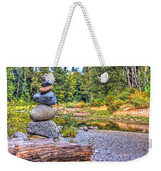 Weekender Tote Bag featuring the photograph Zen Balanced Stones On A Tree by Eti Reid