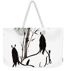 Weekender Tote Bag featuring the painting Zen Horses Moon Reverence by Bill Searle
