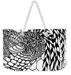 Zentangle Rooster Weekender Tote Bag by Jani Freimann
