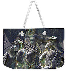 Weekender Tote Bag featuring the photograph Zeus Bronze Statue Dresden Opera House by Jordan Blackstone