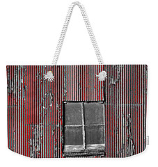 Zink Rd Barn Window Bw Red Weekender Tote Bag by Daniel Thompson