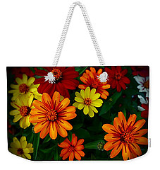 Zinnia Kaleidoscope Of Color Weekender Tote Bag by Nick Kloepping