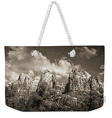 Weekender Tote Bag featuring the photograph Zion Court Of The Patriarchs In Sepia by Tammy Wetzel