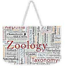Zoology 2 - Herpetology In Typography Weekender Tote Bag