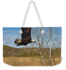 Weekender Tote Bag featuring the photograph  Eagle Circleing Her Nest by Randall Branham